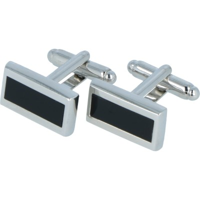 Willen Manschettenknöpfe mit schwarzer Emaille One Size