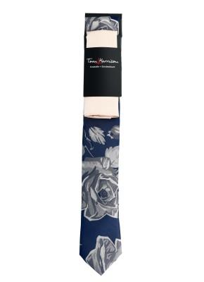 Tom Harrison Set Krawatte Floral mit Einstecktuch Uni One Size