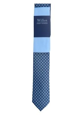 Willen Set SET Krawatte Marine Karo mit Einstecktuch Uni One Size