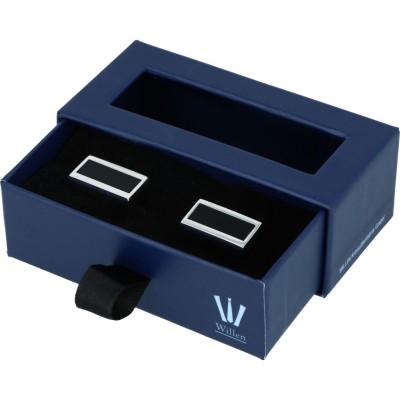 Willen Manschettenknöpfe mit schwarzer Emaille